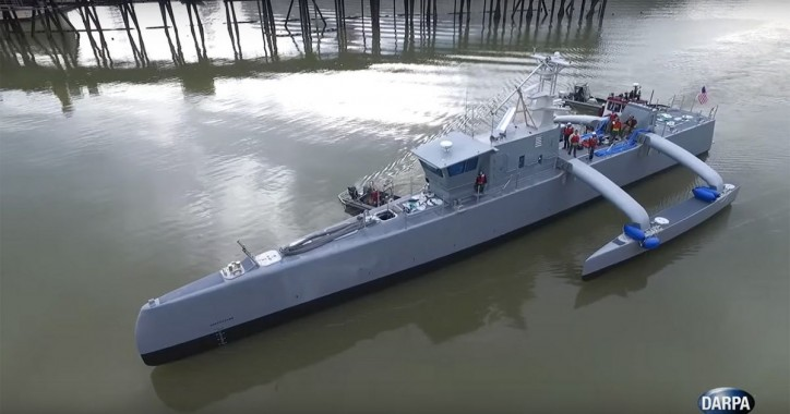 DARPA starts speed testing its submarine-hunting drone ship (Video)
