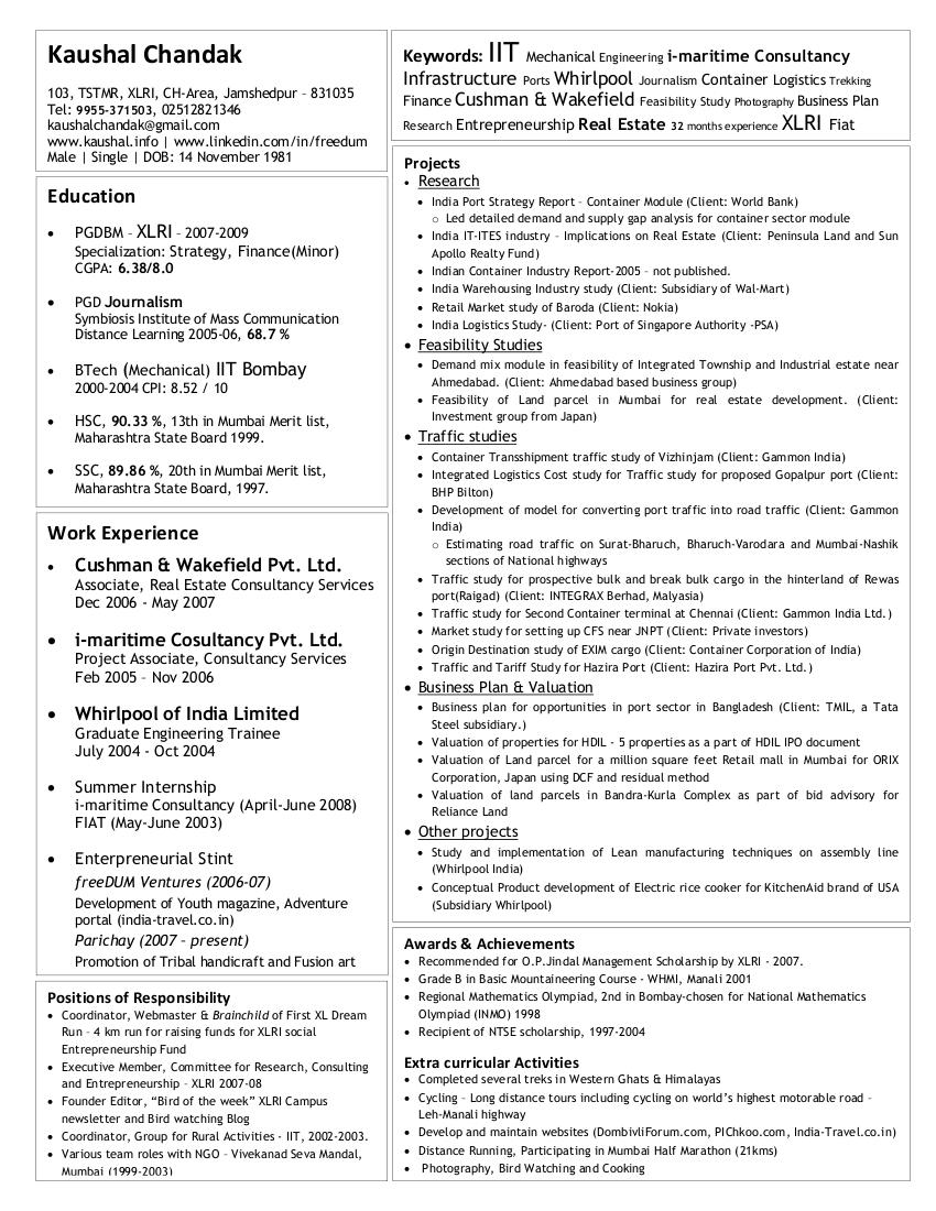 valuation modeling resume