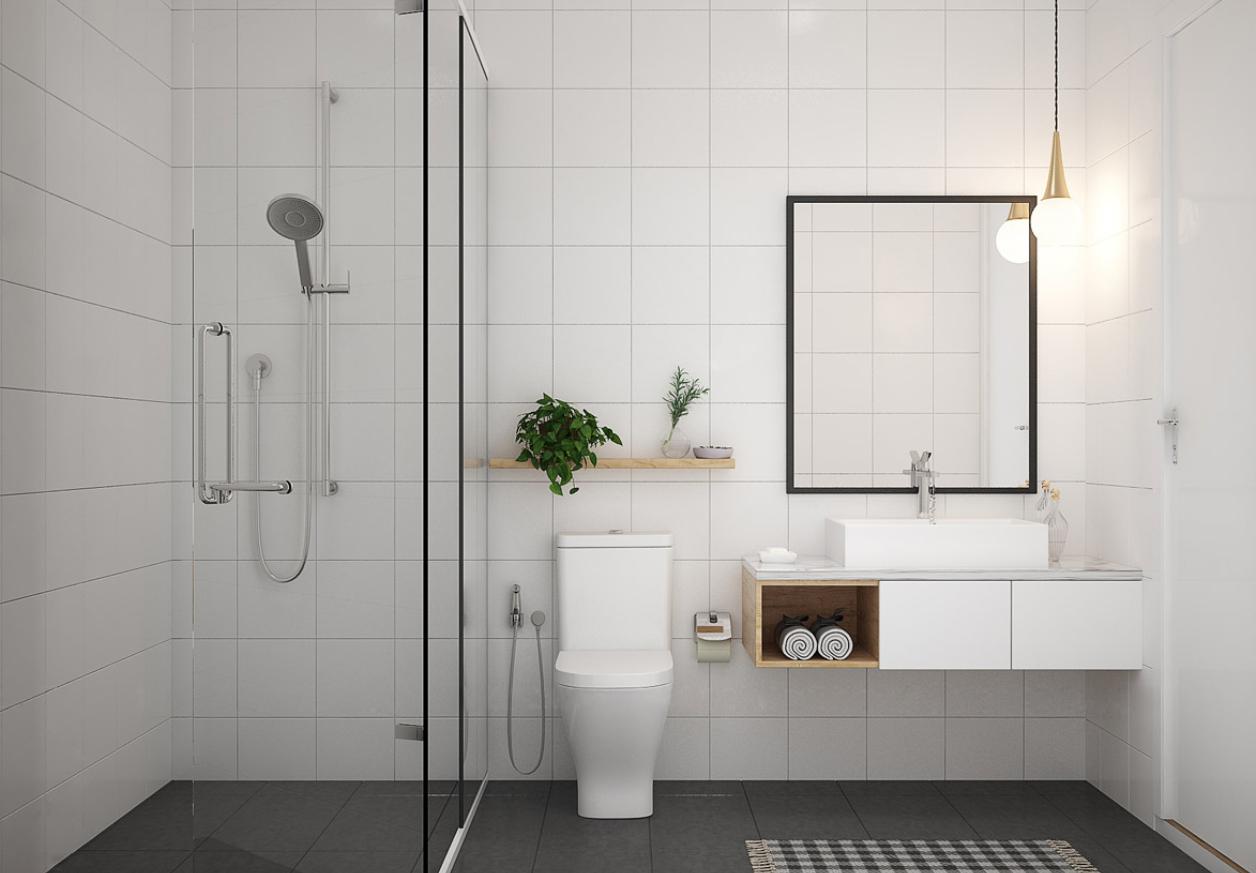 Kamar mandi dengan sekat kaca pada area shower