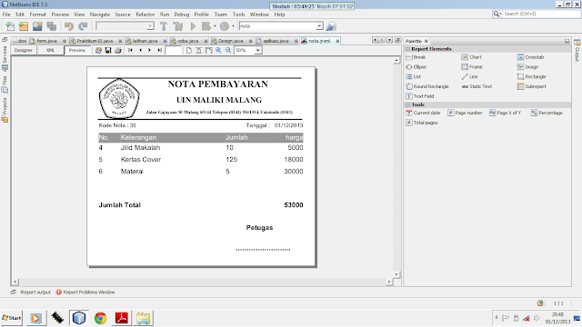 Kelas Informatika - Tampilan Nota Pembayaran iReport
