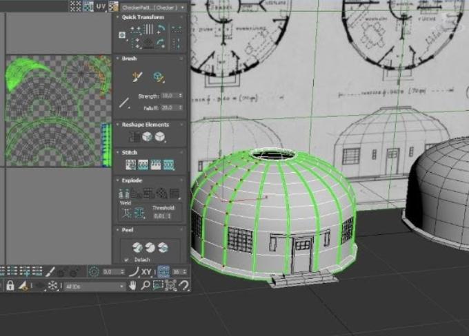 Screenshot der Entwicklung der AR Anwendung zu Bauhaus