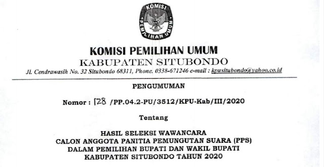 Hasil seleksi PPS se-Kabupaten Situbondo