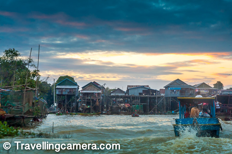 We floated past the stilted homes to the very center of the Tonle Sap lake. The lake was so huge that we could not see the banks in any direction. It was like being in the middle of the sea. This is where they anchored the boat so that we could witness the magical sunset. The sky changed colors gradually as one boat after another came and anchored around us. Their silhouettes gave our photographs depth and perspective.