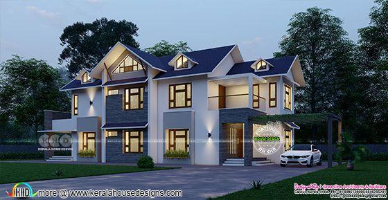 sloping roof style splendid home plan