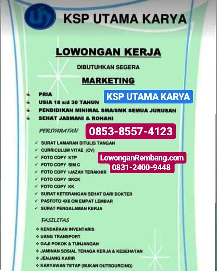 GRATIS Melamar Lowongan Kerja Karyawan Tetap Marketing KSP Utama Karya Dapat Gaji Pokok BPJS Motor Uang Transport Tunjangan
