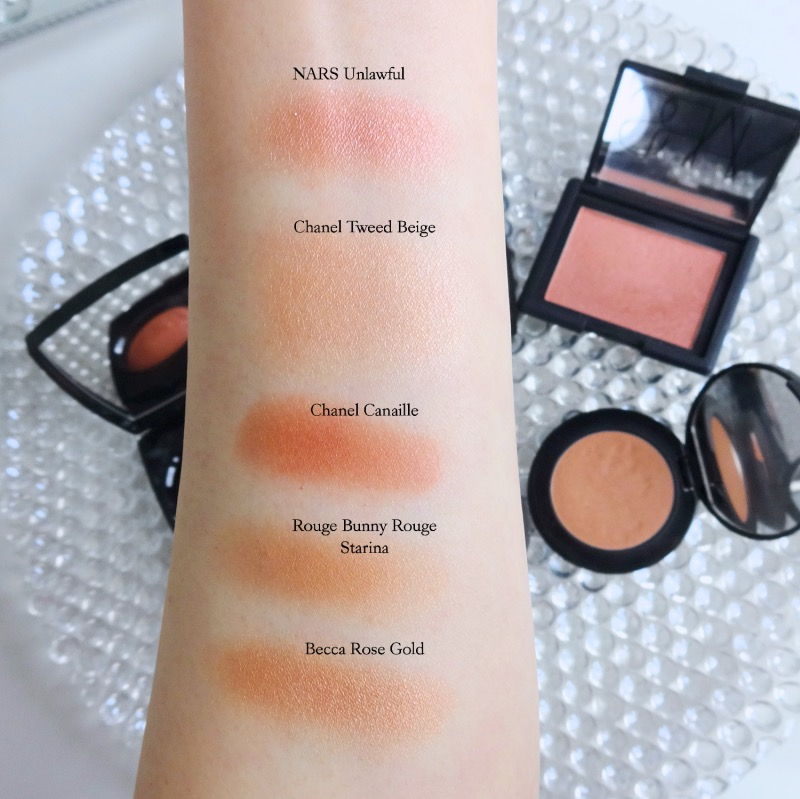 peachy beige blushes swatches