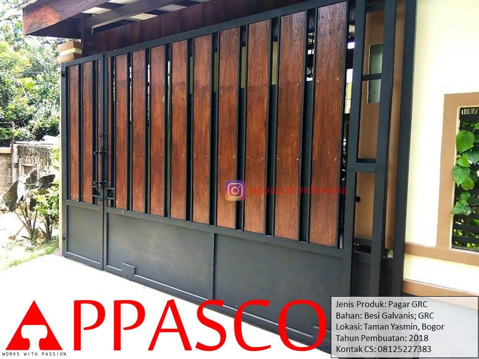 Pagar GRC Minimalis Kayu di Taman Yasmin Bogor