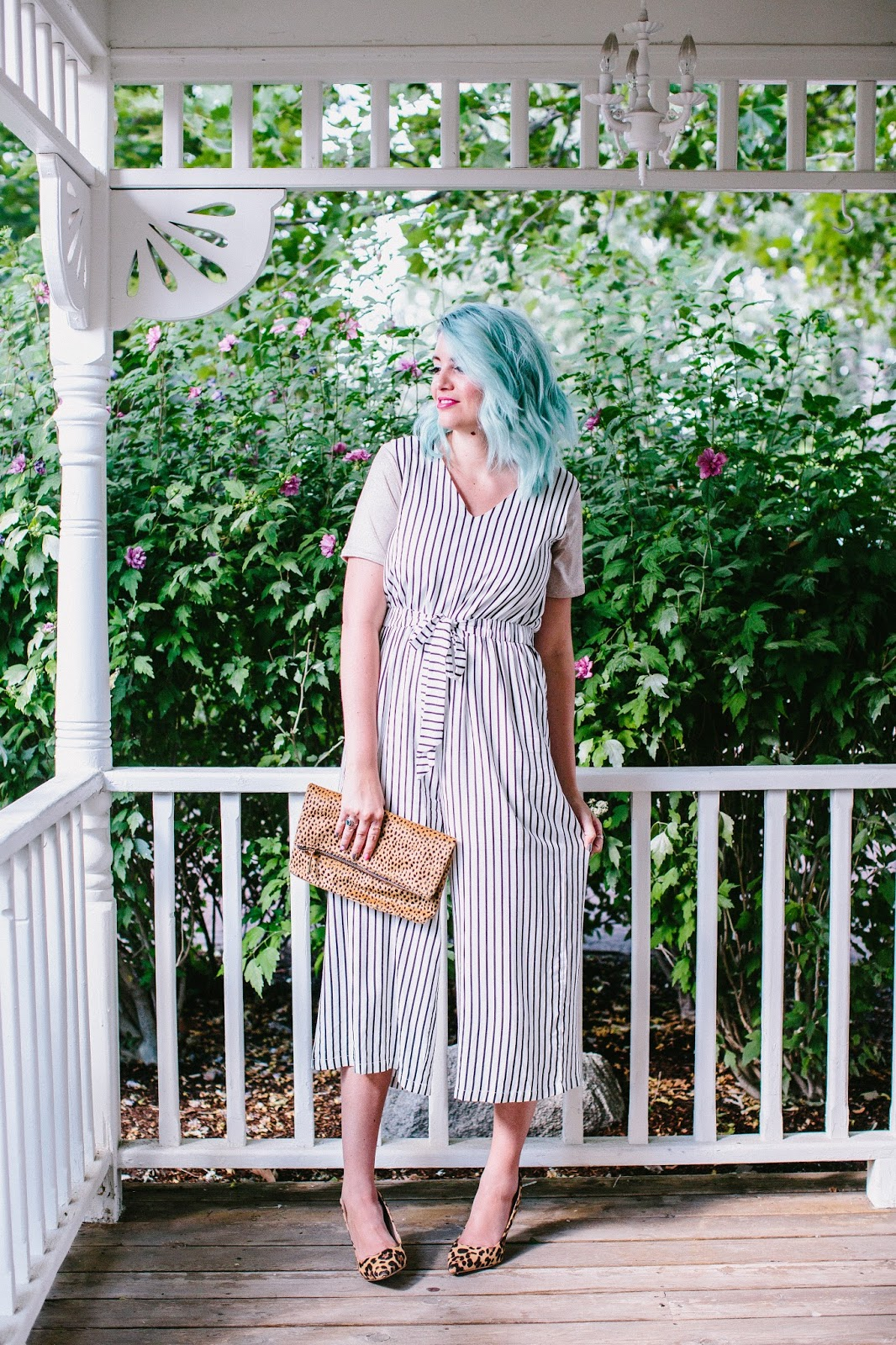 Striped romper, blue hair, leopard print