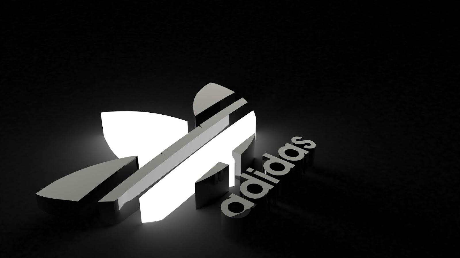 Adidas, Logo, 3D, Black, Monochrome, 5K, Sports
