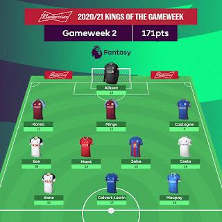 Dream Team FPL Season 2020/2021 Gamewek 2