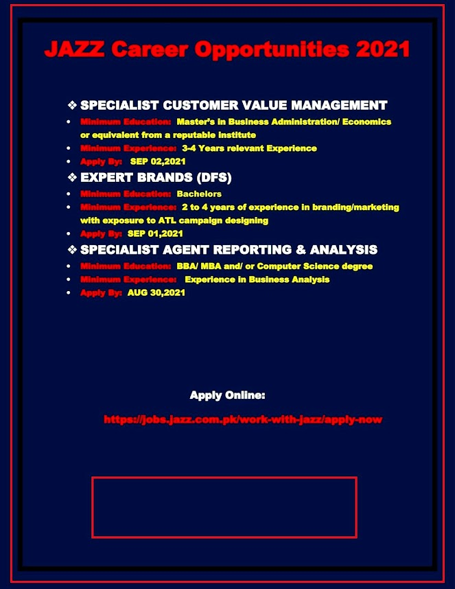 Jazz New  Jobs 2021 Latest Recruitment – Apply via jobs.jazz.com.pk
