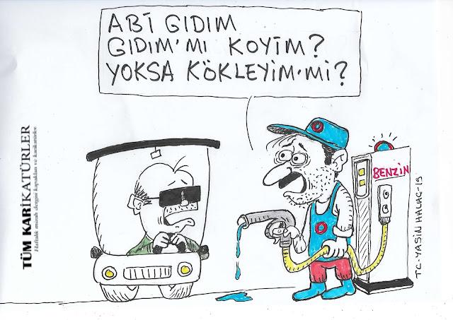benzin zam karikatürü