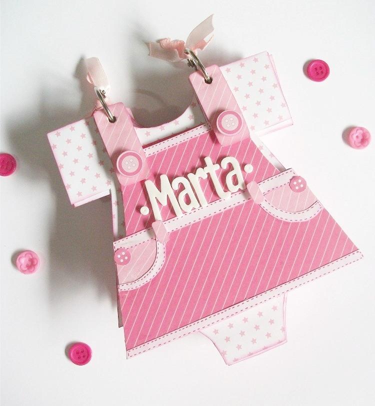 Mini álbum para bebe niña en forma de Vestido-Peto - Handbox Craft ...