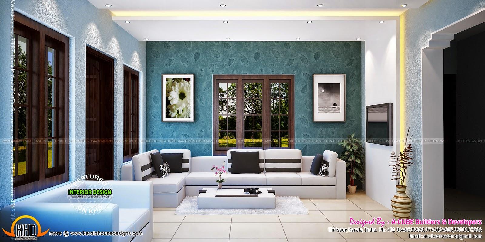 Blue Toned Interiors Kerala Home Design And Floor Plans