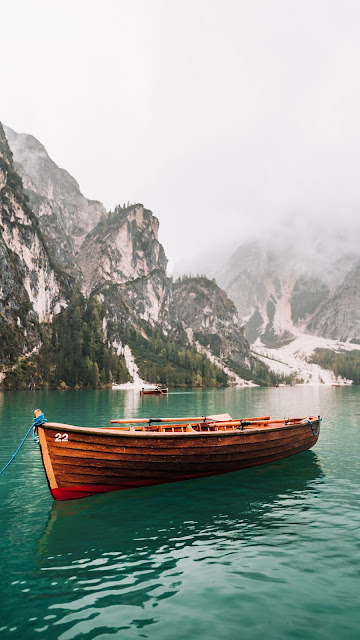 Wallpaper Green Lake, Boat, Mountain, Fog