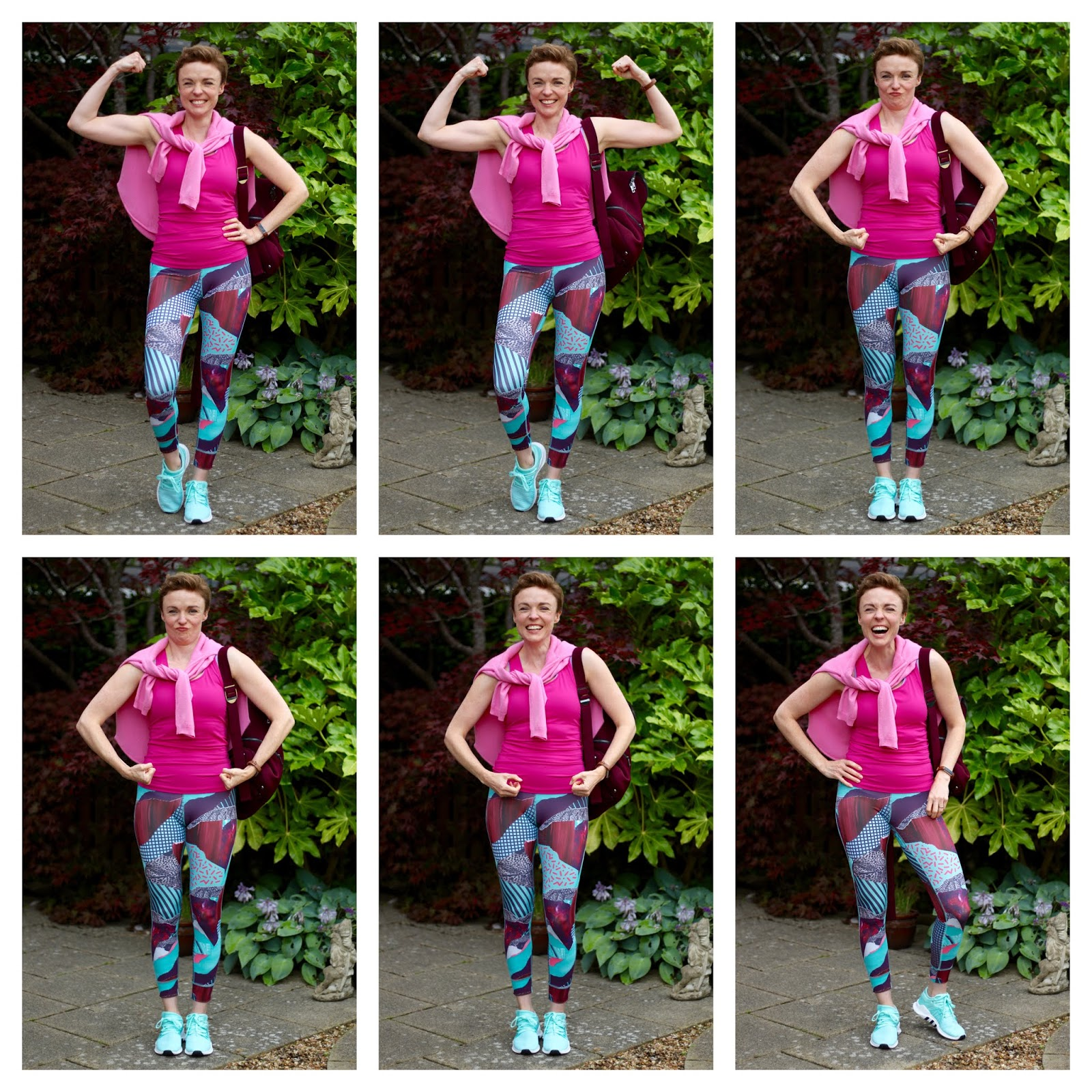 Reebok leggings, Sweaty Betty Top and Bag | Pink and Purple Gym Outfit