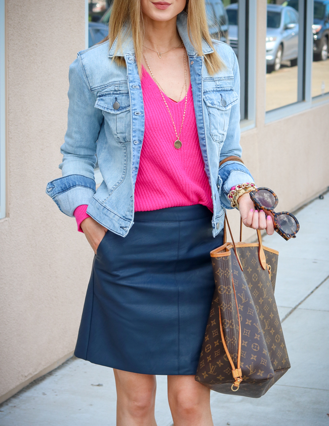 bp. pink sweater topshop navy skirt