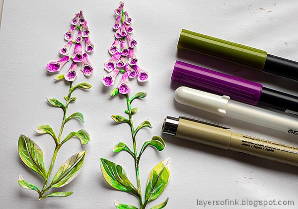 Layers of ink - Foxglove Tag Tutorial by Anna-Karin Evaldsson.