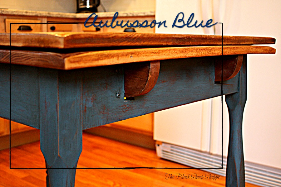 Vintage table painted in Aubusson Blue chalk paint.