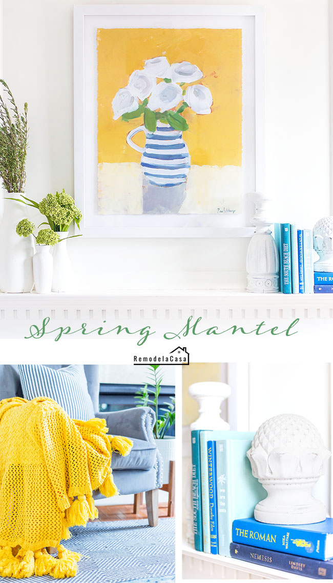 family room decorated for spring