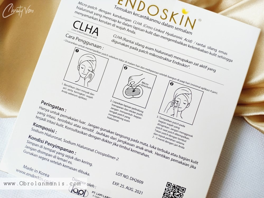 Kemasan Endoskin Overnight Beauty Patch