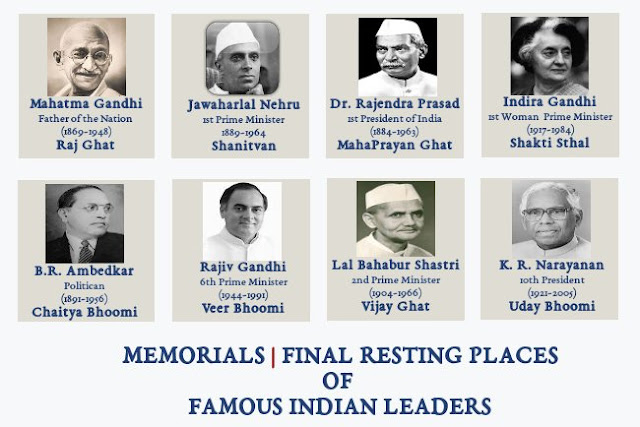 Memorials | Samadhi sthals | Resting places Of Famous Indian Leaders