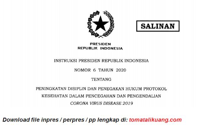 Instruksi presiden Inpres Nomor 6 Tahun 2020 Tentang Penegakan Hukum Protokol Kesehatan Covid-19 PDF tomatalikuang.com
