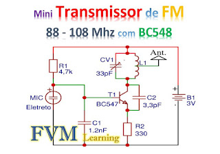 Mini Transmissor de FM 88 - 108 Mhz com BC548