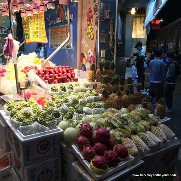 fruit stand at Shilin Night Market in Taipei, Taiwan