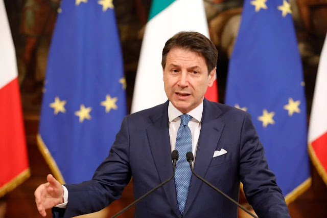 Itay Prime Minister Giuseppe Conte in a press briefing. PHOTO | REUTERS