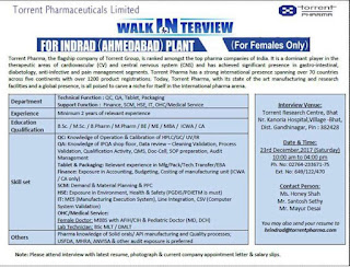 Torrent Pharma for Fresher