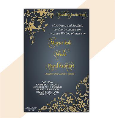 wedding invitation card design | सिंगल पेज शादी कार्ड कैसे बनाये | wedding card design in hindi | शादी का कार्ड हिंदी में | #ARGRAPHICS