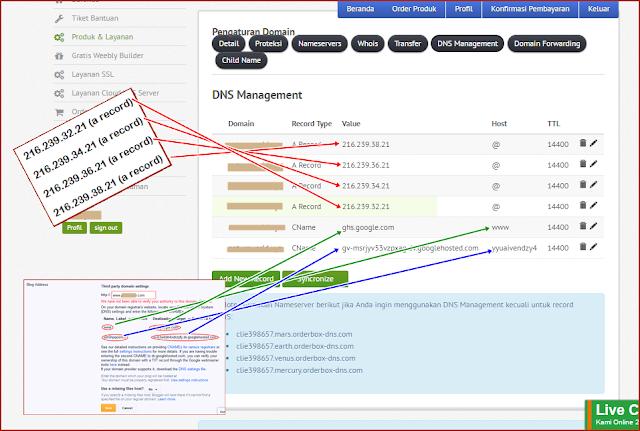 Menambahkan Cname dan A Record di DNS Management NiagaHoster ke Blogger