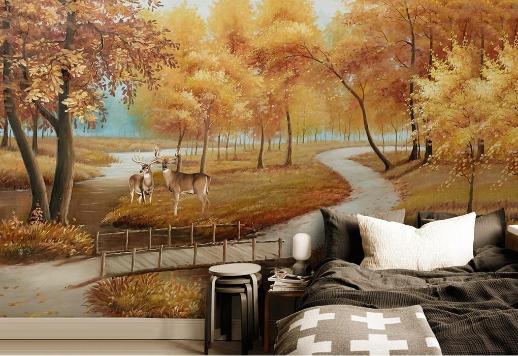 Tranh dán tường 3d phong cảnh rừng cây và hươu