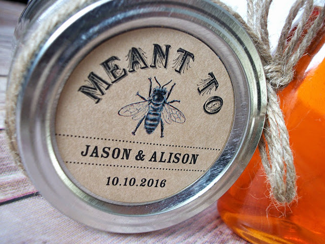 custom meant to bee wedding favor label