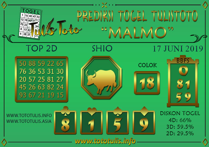 Prediksi Togel MALMO TULISTOTO 17 JUNI 2019