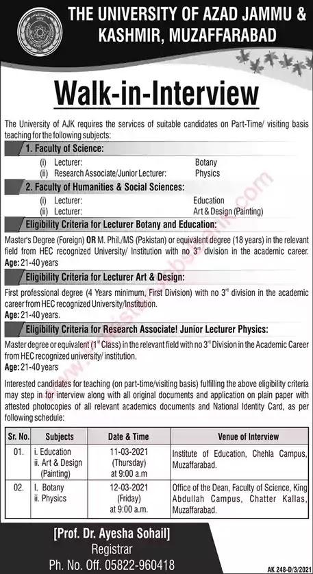 Latest Jobs in Pakistan University of AJK Muzaffarabad Jobs 2021 | Walk in Interview