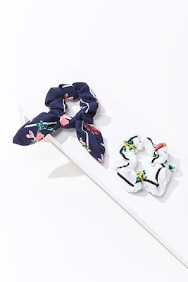 Floral Print Scrunchie Set on a white background.