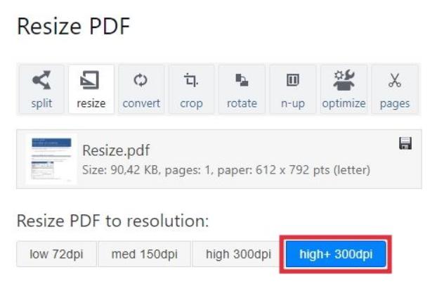 Increase PDF Size