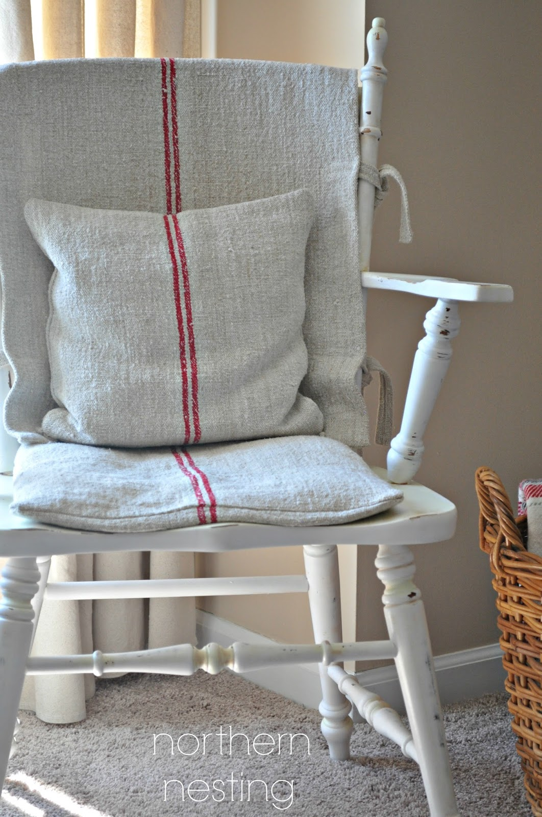 Northern Nesting Grain Sack Cushions by Ann