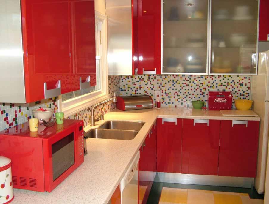 Reka Bentuk Dapur Warna Merah Simpel Rekabentuk Rumah