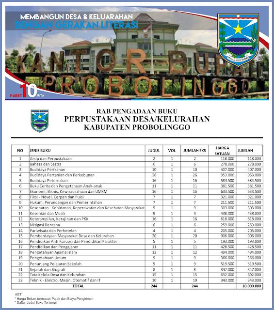 Contoh RAB Pengadaan Buku Perpustakaan Desa Kabupaten Probolinggo Provinsi Jawa Timur Paket 10 Juta