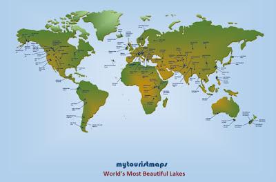 World's most beautiful lakes map