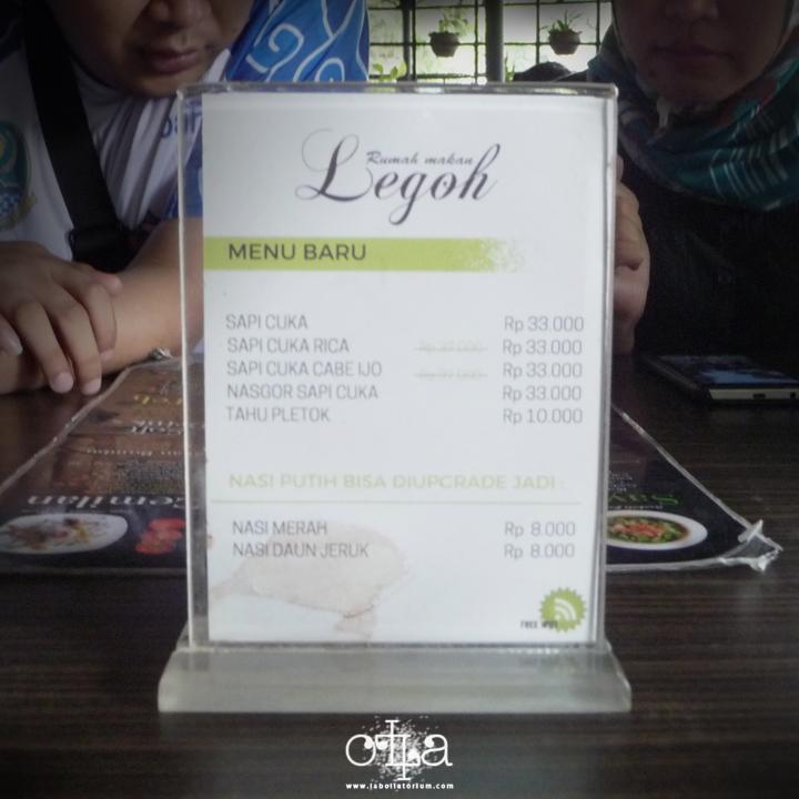 RM Legoh Bandung, Penangkal Lapar Kekinian Menu Baru