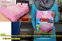 Sprei Cassamia Ballerina Kitty Single 120×200 1 Sarung Bantal 1 Sarung Guling Pink Merah Jambu Kartun Anak Remaja Polyester