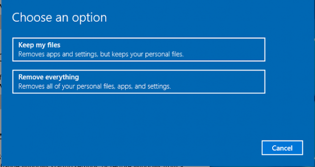 pilihan untuk mulai mereset Windows