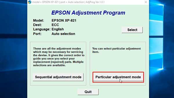 Resetter Epson Expression Premium XP-821