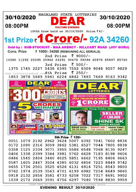 Lottery Sambad 30-10-2020, Lottery Sambad 4 pm results, Sikkim Lottery Results, Lottery Sambad Today Results Live, Day results
