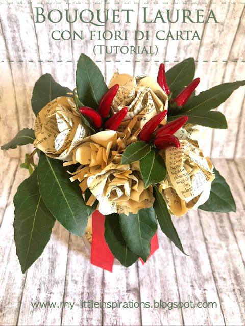 Bouquet di fiori di carta (pagine di vecchi libri), peperoncini, foglie alloro - MLI Titolo