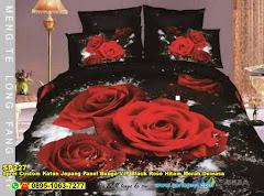 Sprei Custom Katun Jepang Panel Bunga VIP Black Rose Hitam Merah Dewasa